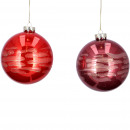 Glass ball Lah, 2 colors, D10cm, red / dark red